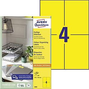 Etikety Avery, 3459, 105 x 148 mm, žluté, 400 etiket/balení