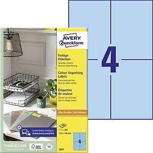 Avery 3457 kék univerzális etikettek 105 x 148 mm, 4 etikett/ív, 100 ív/csomag