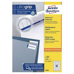 Avery 3420 multifunctionele witte etiketten, 70 x 16,9 mm, doos van 5.100