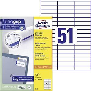 Univerzálne etikety Avery, 3420, 70 x 16,9 mm, 51 etikiet/hárok