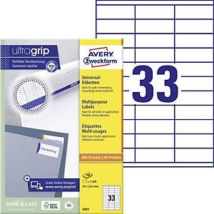 Avery univerzális címke Zweckform, 70 x 25,4 mm, 33 címke/ív