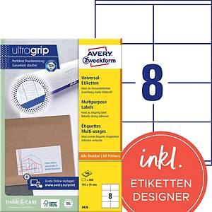 Étiquettes Avery Zweckform ultragrip 3426, 105x70 mm, blanc, paq. 800unités