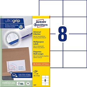 Etiketten Avery Zweckform ultragrip 3427, 105x74 mm, weiss, Pk. à 800 Stk.