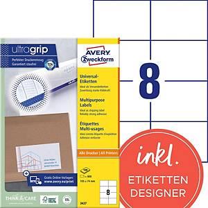 Étiquettes Avery Zweckform ultragrip 3427, 105x74 mm, blanc, paq. 800unités