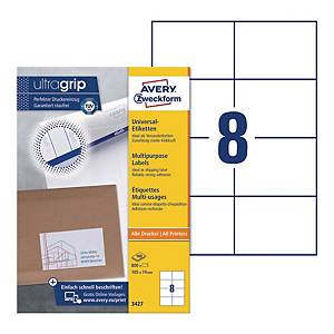 Avery 3427 Multi-Purpose Labels, 105 x 74 mm, Permanent, 8 Labels Per Sheet