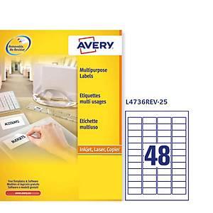 Pack de 1200 etiquetas removíveis Avery - 45,7 x 21,2 mm - branco