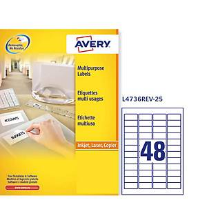 Pack de 1200 etiquetas removibles Avery - 45,7 x 21,2 mm - blanco