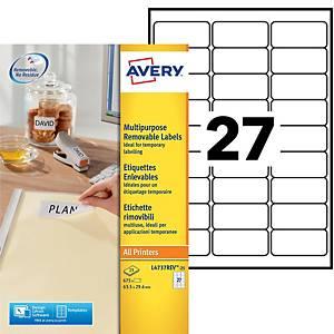 Etiquette enlevable Avery - L4737REV-25 - 63,5 x 29,6 mm - blanche - par 675