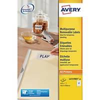 Etichette multiuso rimovibili Avery L4737REV-25 bianco 63,5x29,6mm - conf. 675