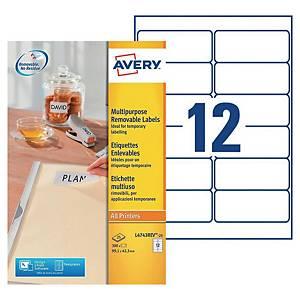 Etiquette enlevable Avery - L4743REV-25 - 99,1 x 42,3 mm - blanche - par 300