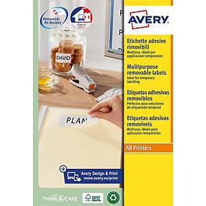 Caixa de 300 etiquetas removíveis Avery L4743REV-25 - 99,1 x 42,3 mm - branco