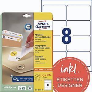 Etiketten ablösbar Avery Zweckform L4745REV-25 96x63,5mm (LxB) weiß, 240 St.