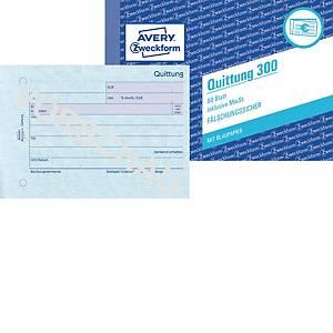 Quittung Avery Zweckform 300  inkl. MwSt., A6 quer, mit Blaupapier, 50 Blatt