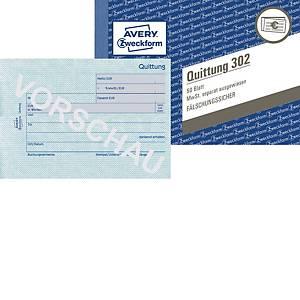 Quittung Avery Zweckform 302  MwSt. sep. ausg., A6 quer, 50 Originale, 50 Blatt