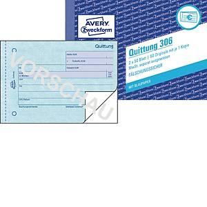 Quittung Avery Zweckform 306  MwSt. sep. ausgw, A6 quer, mit Blaupap, 2x50 Bl