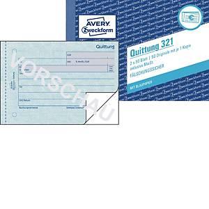 Quittung Avery Zweckform 321  inkl. MwSt., A6 quer, mit Blaupapier, 2x50 Blatt