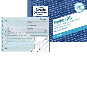 Quittung Avery Zweckform 333  MwSt. sep. ausgew. A6q, mit Blaupapier, 3x50 Bl.