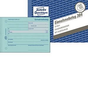 Einnahmebeleg Avery Zweckform 304, A6 quer, grün, 50 Originale, 50 Blatt