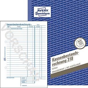 Kassenbestandsrechnung Avery Zweckform 318 , A5, 50 Originale, 50 Blatt