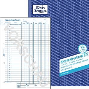 Kassenabrechnung Avery Zweckform 427, MwSt.-Spalte, A4, mit Blaupapi, 2x50 Blatt