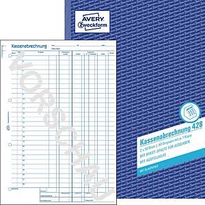 Kassenabrechnung Avery Zweckform 428, MwSt.-Sp. f. Ausg, A4, m. Blaupap, 2x50Bl