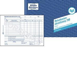 Reisekostenabrechnung Avery Zweckform 740, wöchentl., A5q, mit Blaupapier, 50 Bl