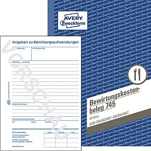 Bewirtungskostenbeleg Avery Zweckform 745 , A5,mikroperforiert, gelb, 50 Blatt