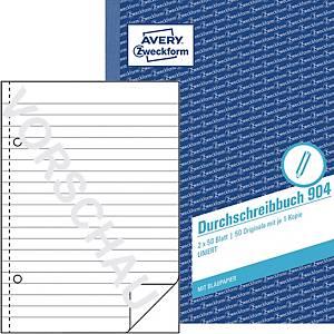 Durchschreibbuch Avery Zweckform 904 , A5, liniert, mit Blaupapier, 2x50 Blatt