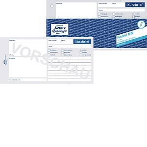 Avery Zweckform 1020 Kurzbrief, 1/3 A4, mit Blaupapier, 100 Blatt