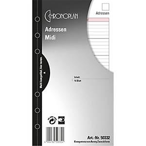 Adressblätter Chronoplan 50332, ohne Register, Midi, 16 Blatt