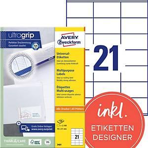 Étiquettes Avery Zweckform ultragrip 3481, 70x41 mm, blanc, paq. 2100unités