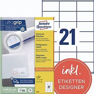 Universal-Etiketten Avery Zweckform 3481 70x41mm weiß 100 Blatt/2.100 Stück