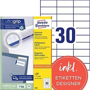 Étiquettes Avery Zweckform ultragrip 3489, 70x29,7 mm, blanc, paq. 3000unités