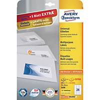 Univerzálne etikety Avery 3490, 70 x 36 mm, 24 etikiet/hárok