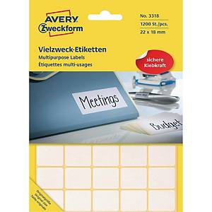Allround-etiketter Avery, 18 x 22 mm, vita, förp. med 1 200 st.