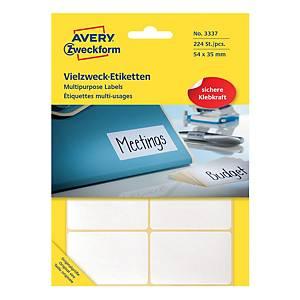 Univerzální etikety na ruční popisování Avery, 54 x 35 mm, bílé, 224 ks