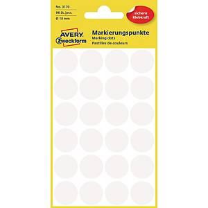 Avery Zweckform 3170 Markierungspunkte, Ø 18 mm, 4 Bogen/96 Etiketten, weiß