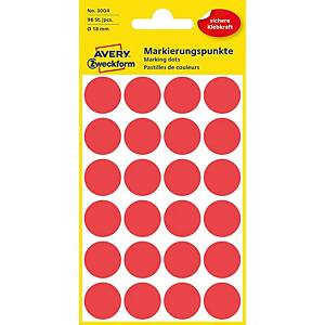 BX96 AVERY Zweckfom 3004 Marking dots 18 MM RED