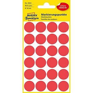 Avery 3004 kerek etikettek, 18 mm, piros