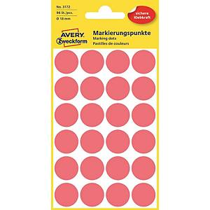 Barevné etikety Avery, Ø 18, červená barva, 96 etiket/balení