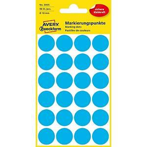 Avery 3006 kerek etikettek, 18 mm, kék