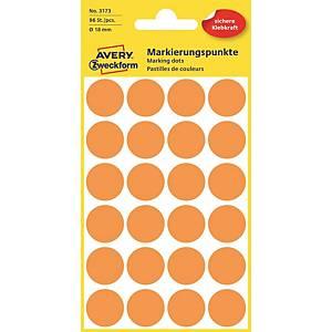 Barevné etikety Avery, Ø 18 mm, oranžová barva, 96 etiket/balení