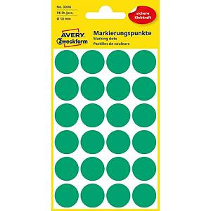 BX96 AVERY Zweckform 3006 Marking dots 18 MM GREEN
