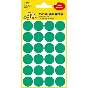BX96 AVERY Zweckform 3006 Marking dots 18 MM GREEN