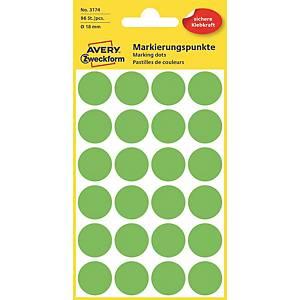 Farebné etikety Avery, Ø 18, zelená farba, 96 etikiet/balenie
