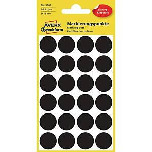 Avery Zweckform 3003 Markierungspunkte, Ø 18 mm, 4 Bogen/96 Etiketten, schwarz