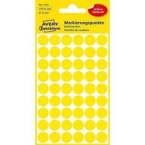 Farebné etikety Avery, Ø12mm, žltá farba, 270 etikiet/balenie