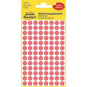 Barevné etikety Avery, 12 mm, červené, 270 etiket/balení