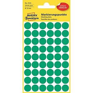 Barevné etikety Avery, 12 mm, zelené, 270 etiket/balení