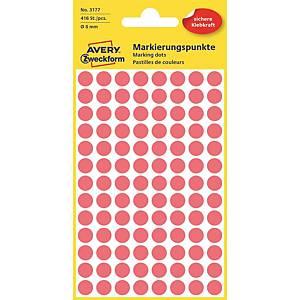 Barevné etikety Avery, Ø 8, červená barva, 416 etiket/balení